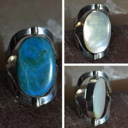 Zilveren ring Dubbel steen Ross