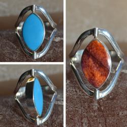 Zilveren ring Dubbel steen 1713