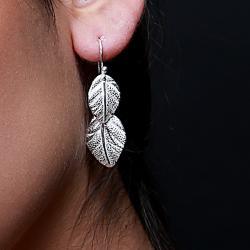 Zilveren oorbellen Bladeren 2